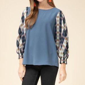 Tops - Blue Plaid Long Sleeve Top